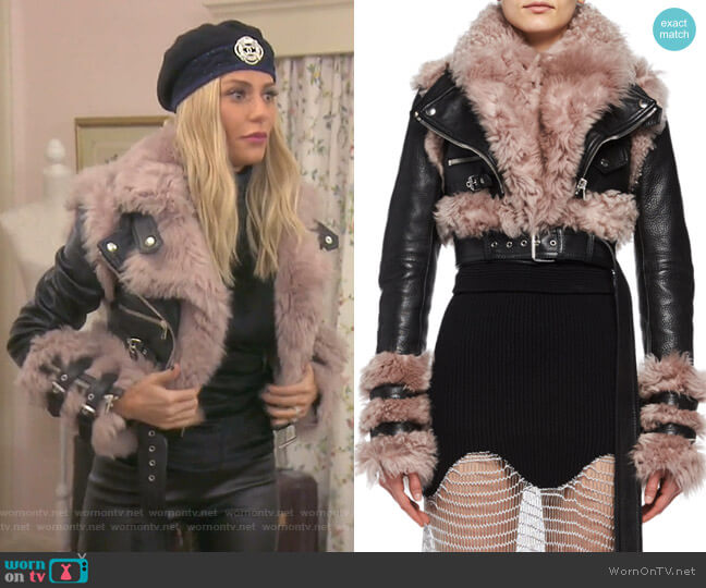 Shearling & Leather Cropped Moto Jacket by Alexander McQueen worn by Dorit Kemsley  on The Real Housewives of Beverly Hills