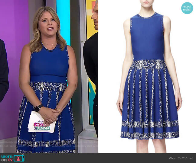 Snake-Print-Stripe Full Dress by Alexander McQueen worn by Jenna Bush Hager  on Today