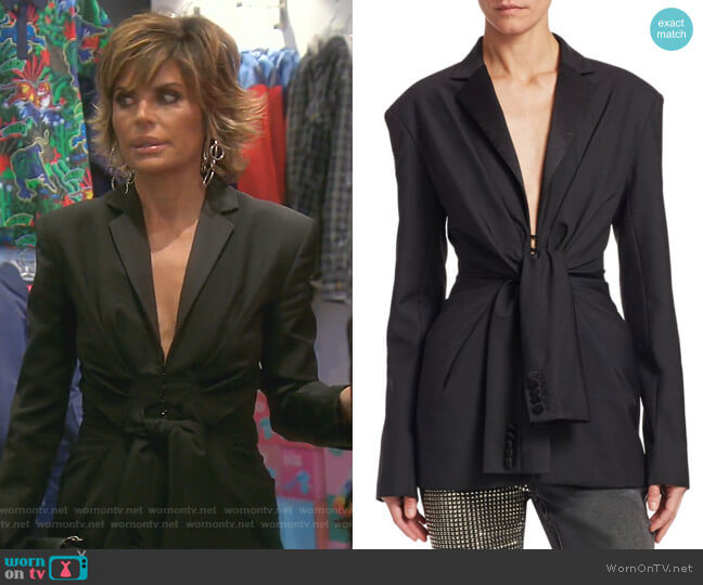 Tie Front Tuxedo Jacket by Alexander Wang worn by Lisa Rinna  on The Real Housewives of Beverly Hills