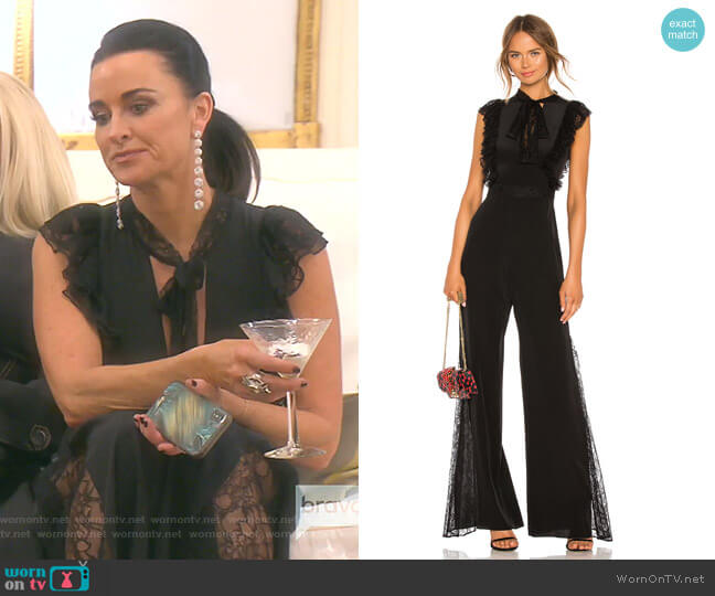 Gislane Tie Neck Jumpsuit by Alexis worn by Kyle Richards  on The Real Housewives of Beverly Hills