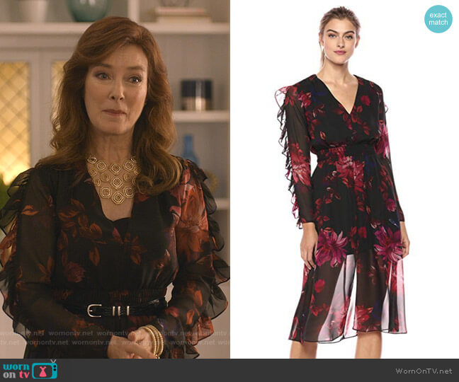 Endless Love Ruffle Sleeve Floral Midi Dress by Ali & Jay worn by Lorna Harding (Valerie Mahaffey) on Dead to Me