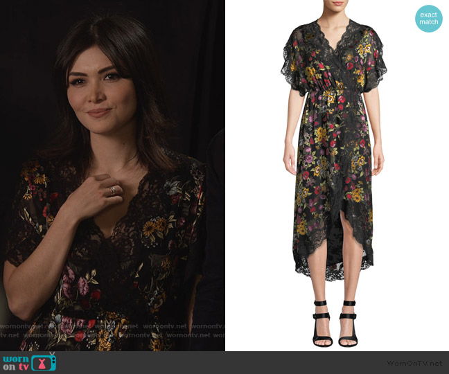 Adele Clean-Waist Wrap Dress by Alice + Olivia worn by Cassidy Barrett (Daniella Pineda) on What/If