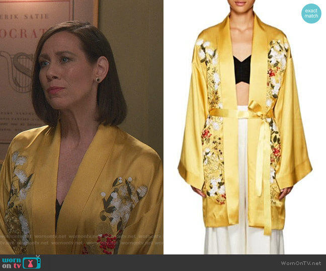 Harmony Floral Silk Long Kimono by Alice Archery worn by Diana Trout (Miriam Shor) on Younger