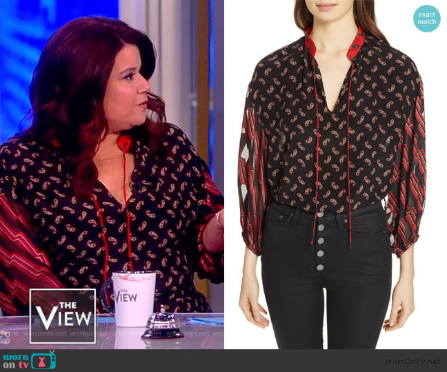 Blouson Sleeve Mixed Print Top by Alice + Olivia worn by Ana Navarro  on The View