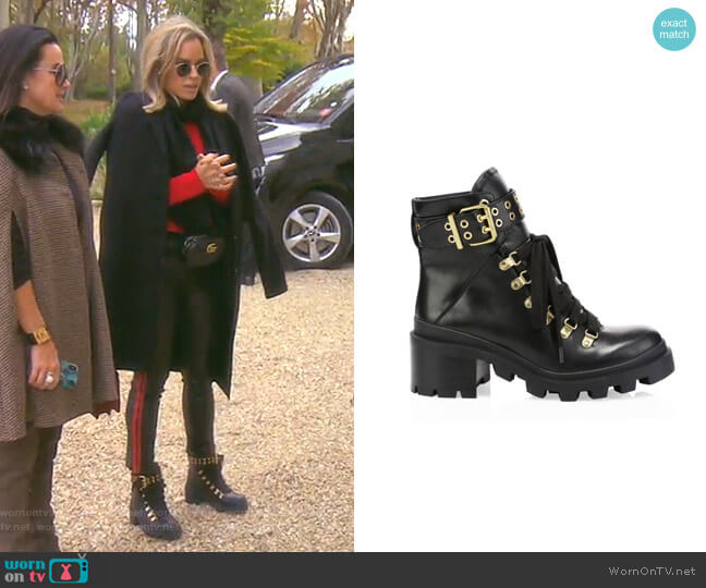 Havis Combat Boots by Aklice + Olivia worn by Teddi Mellencamp Arroyave  on The Real Housewives of Beverly Hills