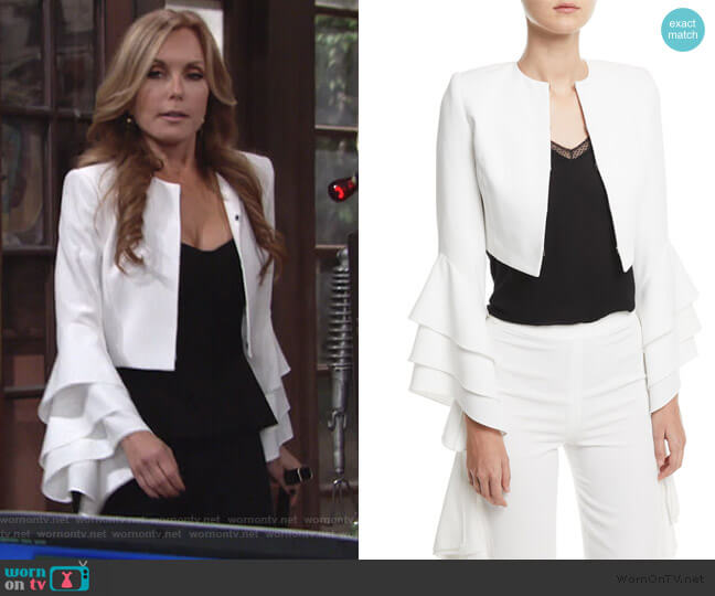 Presley Ruffle-Sleeve Blazer by Alice + Olivia worn by Lauren Fenmore (Tracey Bregman) on The Young & the Restless