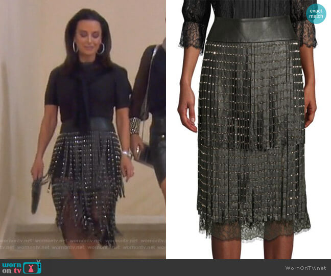 Senna Skirt by Alice + Olivia worn by Kyle Richards  on The Real Housewives of Beverly Hills
