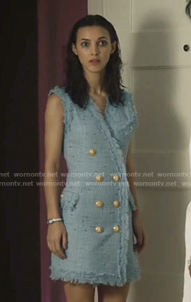 Alicia's blue tweed dress with gold buttons on Grand Hotel