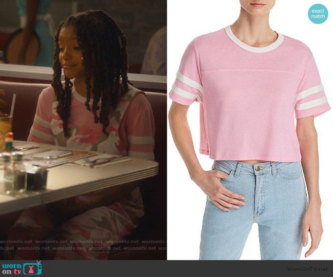 Striped-Sleeve Cropped Tee by Alternative worn by Skylar Forster (Halle Bailey) on Grown-ish