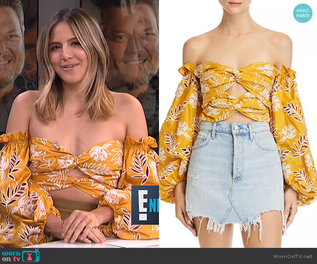 Off-The-Shoulder Floral Embroidered Cropped Top by Amur worn by Erin Lim  on E! News
