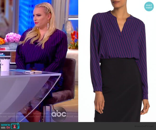 Oblique Stripe Split Neck Top by Anne Klein worn by Meghan McCain  on The View