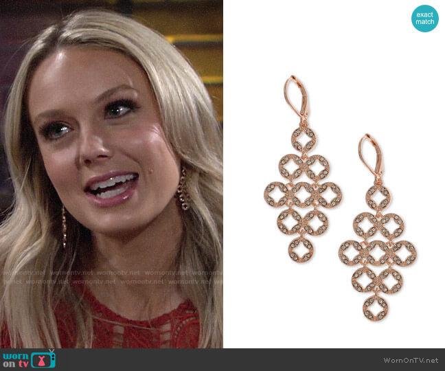 Anne Klein Pave Chandelier Earrings worn by Abby Newman (Melissa Ordway) on The Young & the Restless