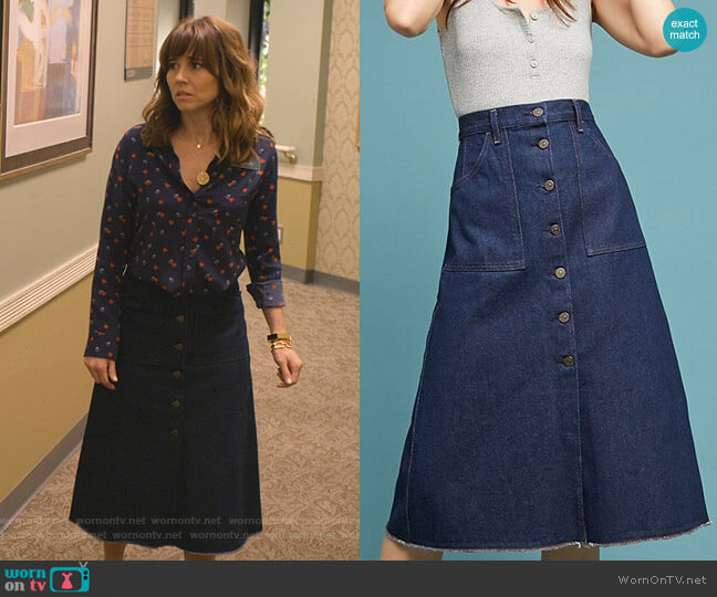 Anouk Buttondown Skirt by Citizens of Humanity worn by Judy Hale (Linda Cardellini) on Dead to Me