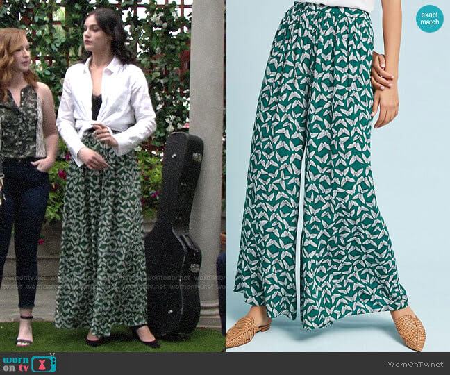 Anthropologie Maeve Acker Wide-Leg Pants worn by Tessa Porter (Cait Fairbanks) on The Young & the Restless