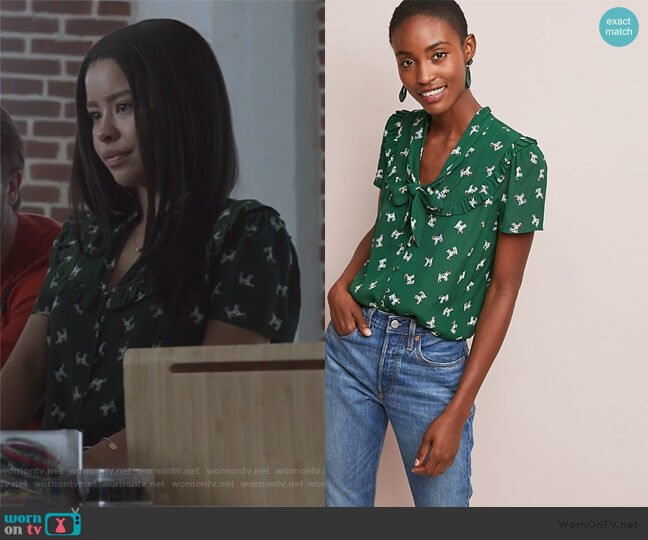 Adageo Dog Print Shirt by Maeve at Anthropologie worn by Mariana Foster (Cierra Ramirez) on Good Trouble