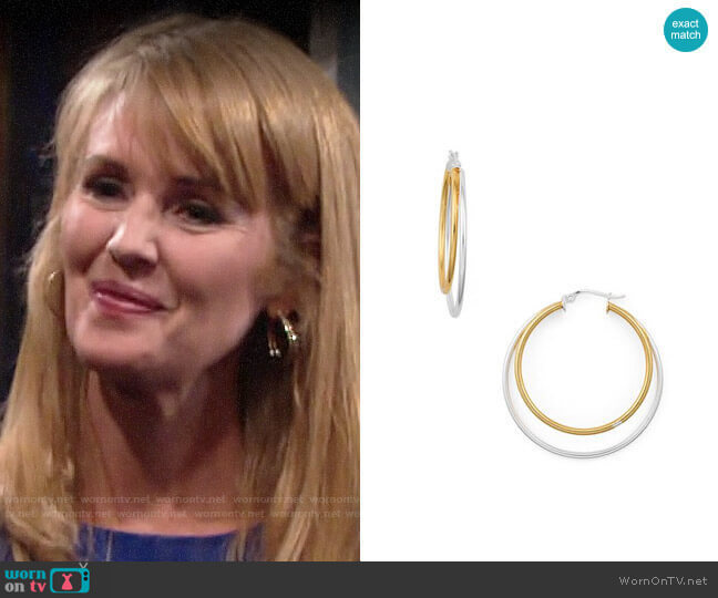 Aqua Double Hoop Earrings worn by Mallory Armstrong (Wendy Benson Landes) on The Young & the Restless