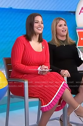 Ashley Graham's red ribbed dress on Today