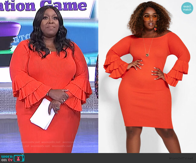 Orange Bell Sleeve Dress by Ashley Stewart worn by Loni Love  on The Real