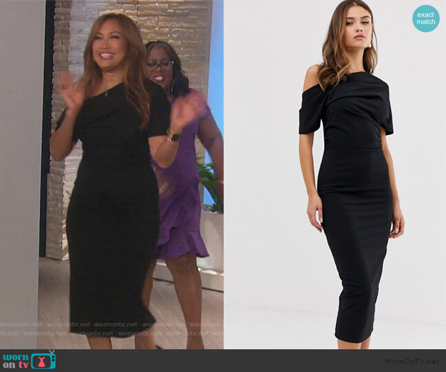 Pleated Shoulder Pencil Dress by Asos worn by Carrie Inaba  on The Talk