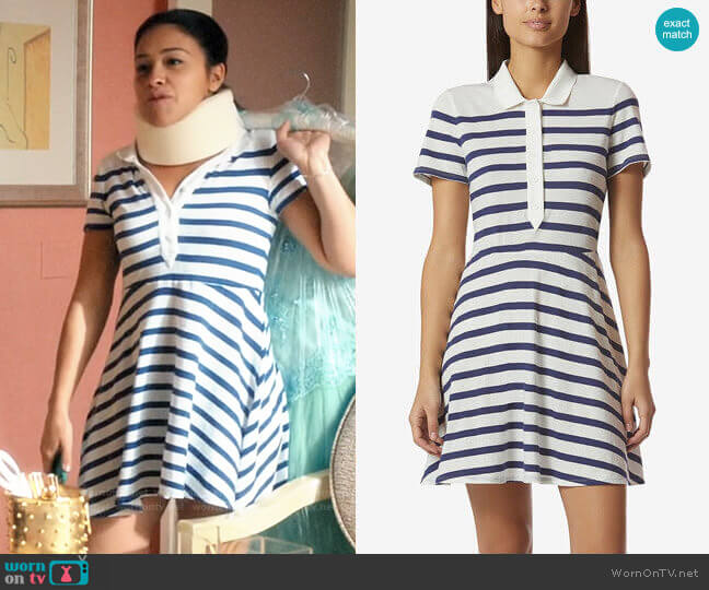Avec Les Filles Cotton Striped Polo-Style Dress worn by Jane Villanueva (Gina Rodriguez) on Jane the Virgin