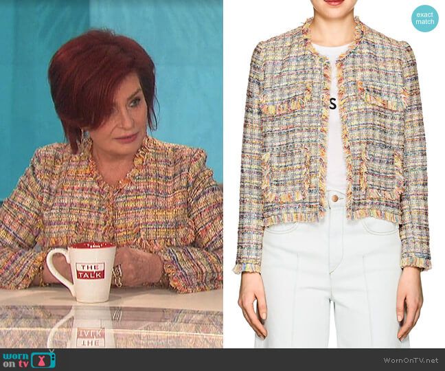Frayed-Edge Tweed Jacket by Barneys New York worn by Sharon Osbourne  on The Talk