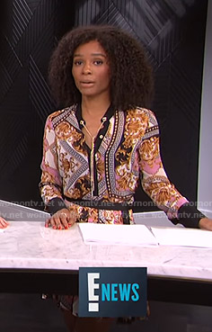 Zuri's baroque print blouse and skirt on E! News