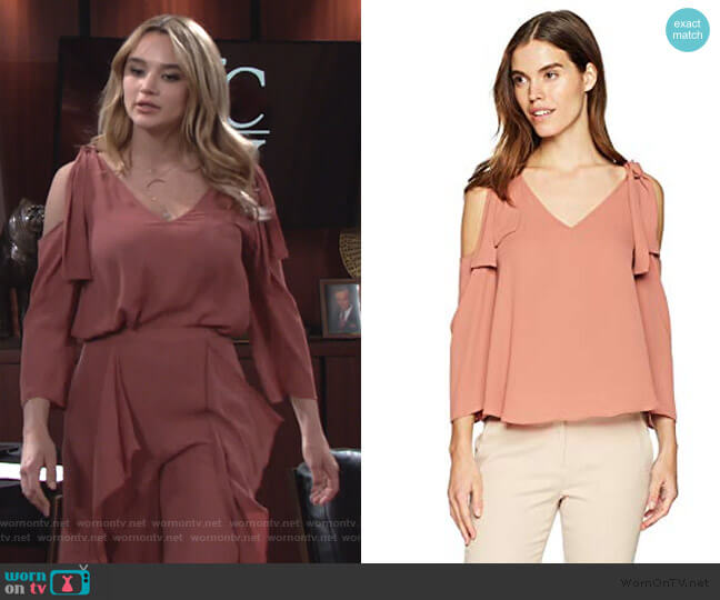 Caralyne Cold Shoulder Top by BCBGMAXAZRIA worn by Summer Newman (Hunter King) on The Young & the Restless