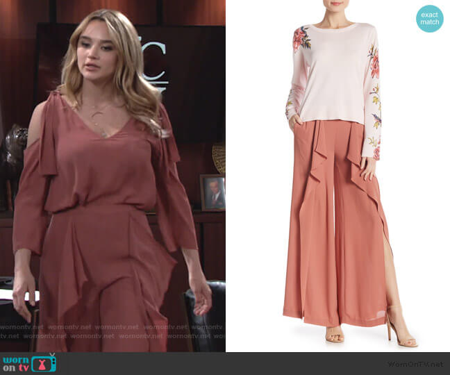Ruffle Trim Pants by BCBGMAXAZRIA worn by Summer Newman (Hunter King) on The Young & the Restless