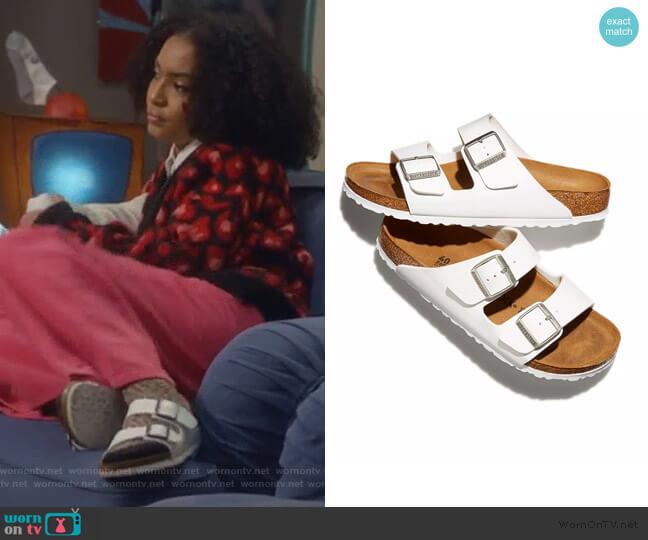 Arizona Slide Sandals by Birkenstock worn by Zoey Johnson (Yara Shahidi) on Grown-ish