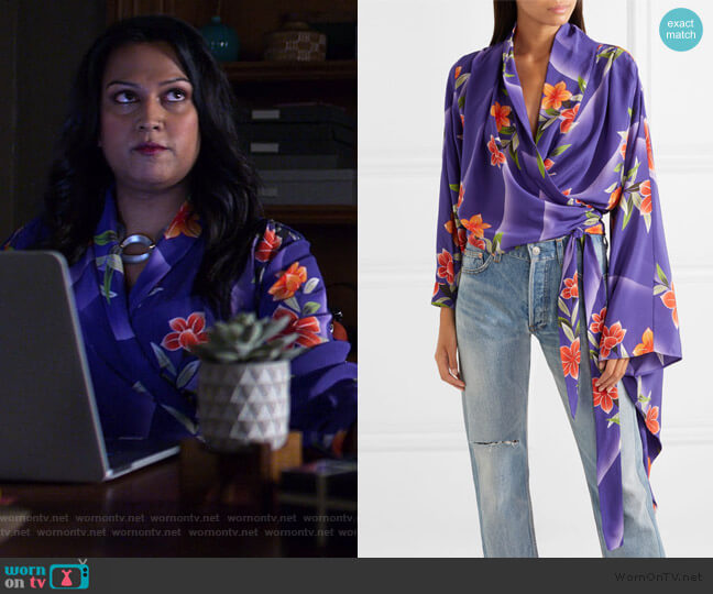 Floral-print silk-crepon wrap top by Balenciaga worn by Jeryn Hogarth (Carrie-Anne Moss) on Jessica Jones