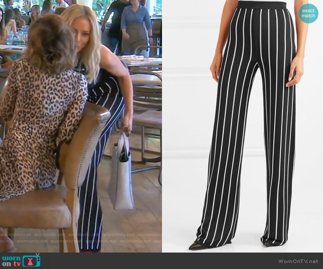 Striped Woven Wide-Leg Pants by Balmain worn by Dorit Kemsley  on The Real Housewives of Beverly Hills