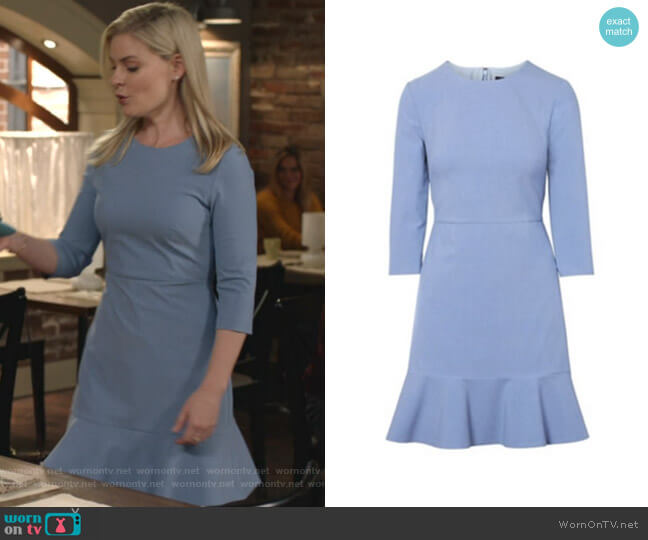 3/4 Sleeve Ruffle Hem Dress by Banana Republic worn by Stephanie Borden (Kylee Evans) on Good Witch