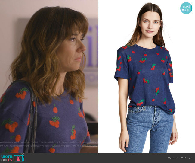 Cherries Tee by Banner Day worn by Judy Hale (Linda Cardellini) on Dead to Me