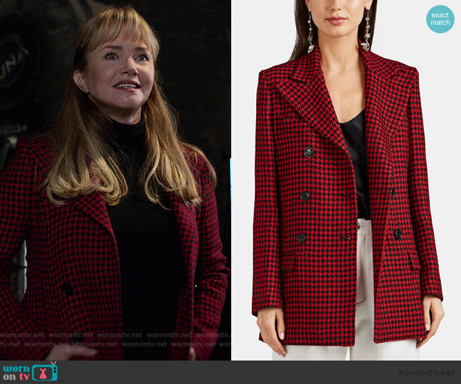 Houndstooth Wool Double-Breasted Coat by Barneys New York worn by Dorothy Walker (Rebecca De Mornay) on Jessica Jones