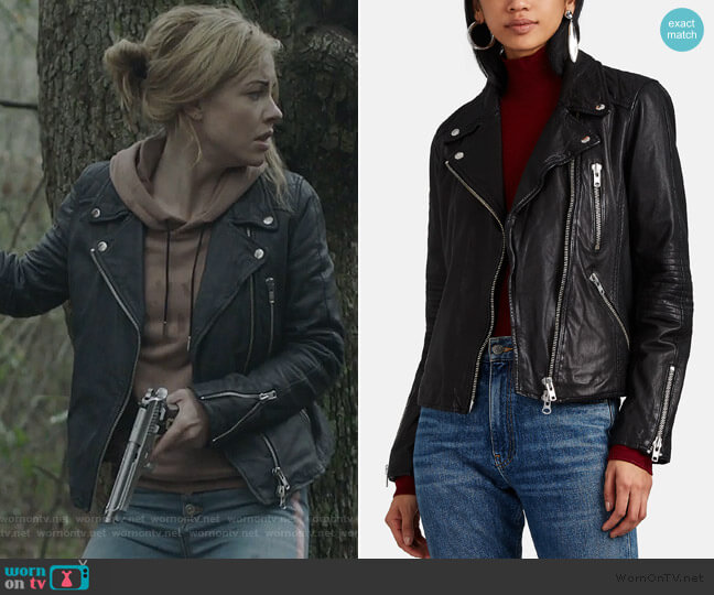 Quilted Leather Moto Jacket by Barneys New York worn by Kelly Anne Van Awken (Molly Burnett) on Queen of the South