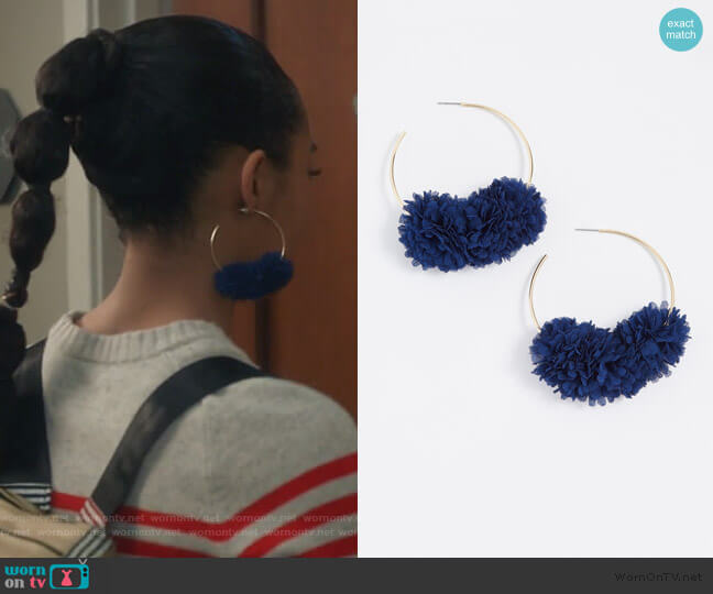 Hoop with Flower Earrings by Bauble Bar worn by Zoey Johnson (Yara Shahidi) on Grown-ish