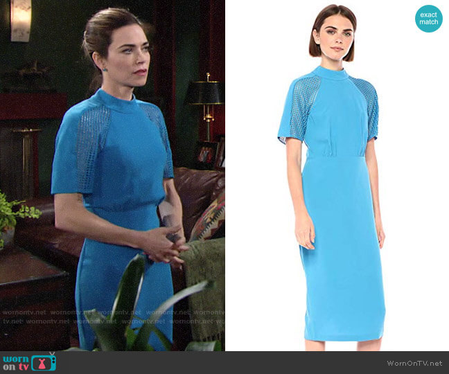 Bcbgmaxazria Lace Inset Sheath Dress worn by Victoria Newman (Amelia Heinle) on The Young & the Restless