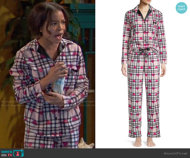 Betsey Johnson Two-piece Heart & Plaid Pajama Set worn by Nia Baxter (Navia Robinson) on Ravens Home