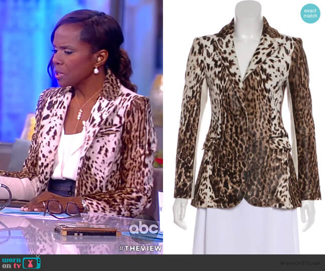 Cowhide Animal-Print Blazer by BY. Bonnie Young worn by Deborah Roberts on The View