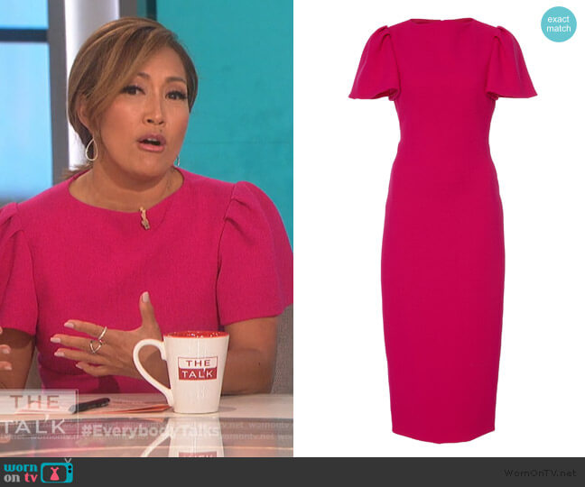 Flutter-Sleeve Crepe Midi Dress by Brandon Maxwell worn by Carrie Inaba  on The Talk