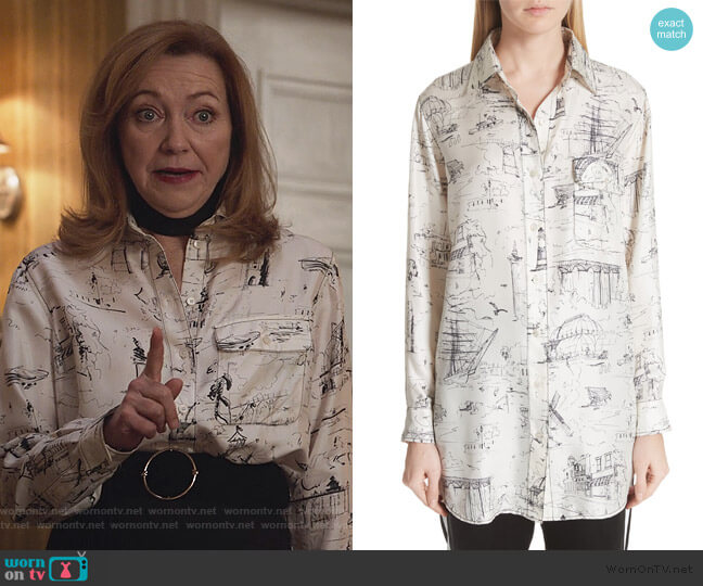 Chava Sketch Silk Shirt by Burberry worn by Lorraine Zimmer (Julie White) on Designated Survivor