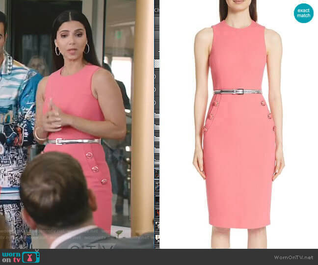 Button Detail Stretch Wool Dress by Michael Kors worn by Gigi Mendoza (Roselyn Sánchez) on Grand Hotel