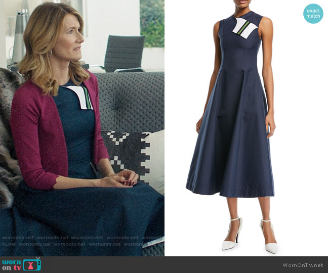 Calvin Klein 205W39NYC Sleeveless Fit-and-Flare Tea-Length Dress with Striped Foldover worn by Renata Klein (Laura Dern) on Big Little Lies