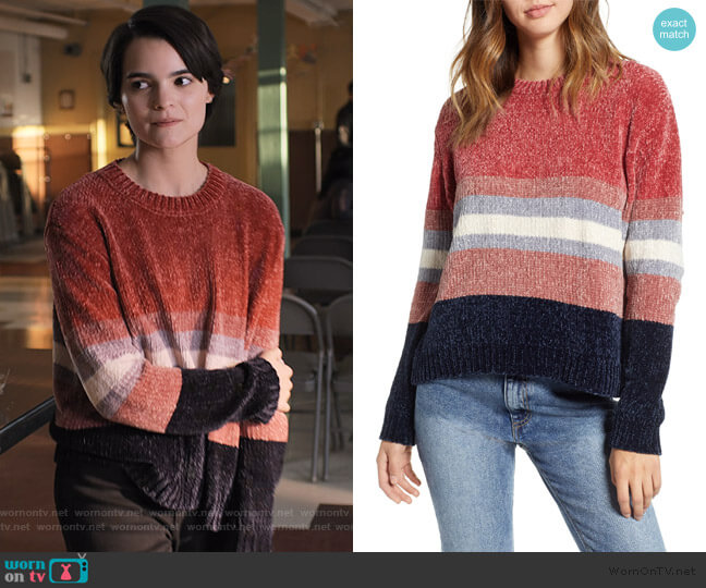 Stripe Chenille Sweater by Cotton Emporium worn by Elodie Davis (Brianna Hildebrand) on Trinkets
