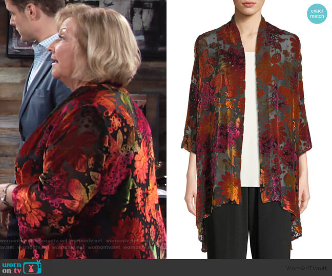Plus Size Evening Bouquet Velvet Burnout Cardigan by Caroline Rose worn by Traci Abbott (Beth Maitland) on The Young & the Restless