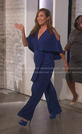 Carrie's blue cold-shoulder jumpsuit on The Talk