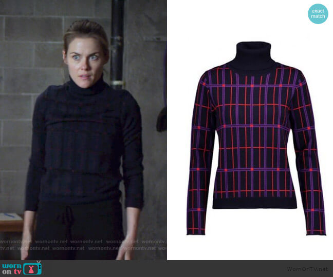 Check turtleneck Sweater by Carven worn by Trish Walker (Rachael Taylor) on Jessica Jones
