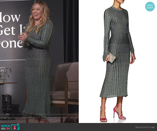 Metallic Rib-Knit Midi-Dress by Cedric Charlier worn by Kelsey Peters (Hilary Duff) on Younger