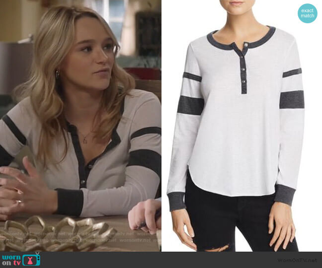 Sleeve Stripe Henley Tee by Chaser worn by Clementine Hughes (Hunter King) on Life in Pieces
