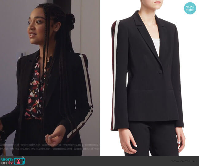 Rumi Ribbon Striped Blazer by Cinq a Sept worn by Kat Edison (Aisha Dee) on The Bold Type